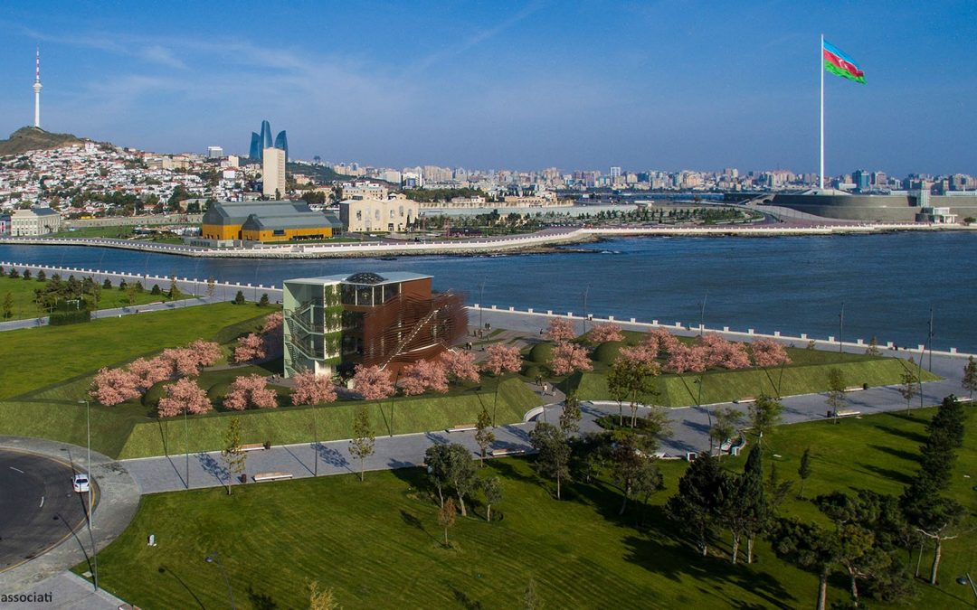 The Expo Pavilion flies to Baku