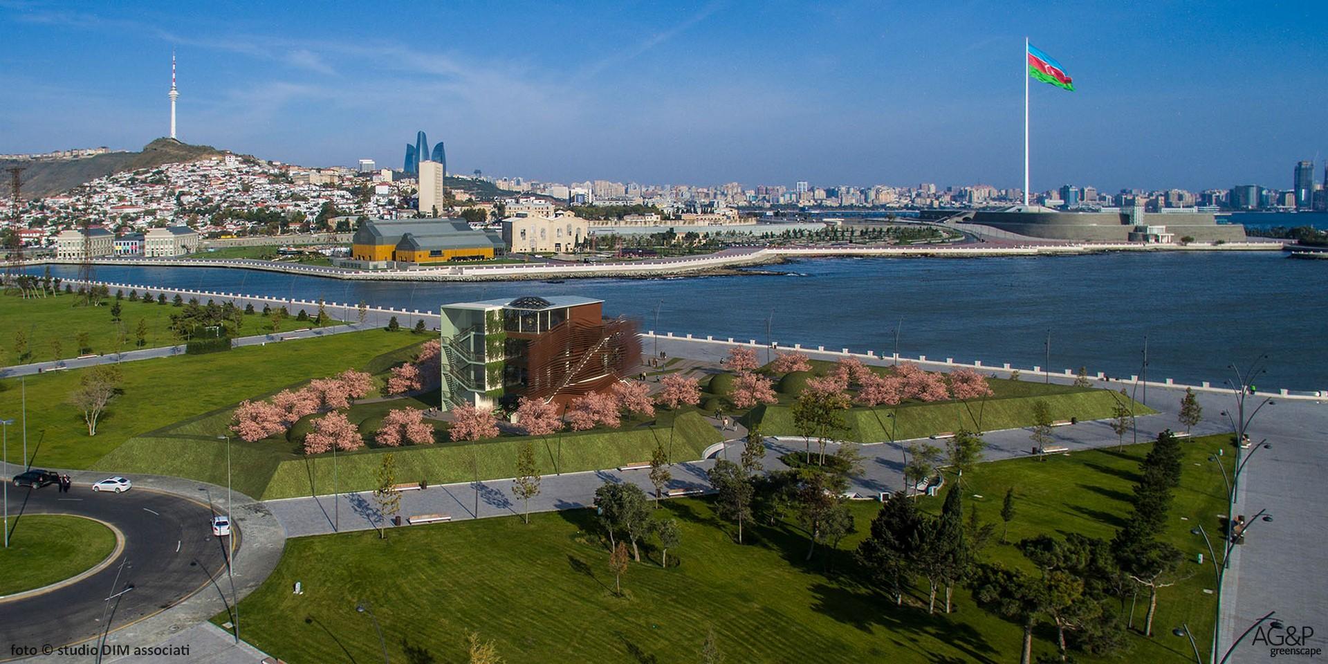 The Expo Pavilion flies to Baku