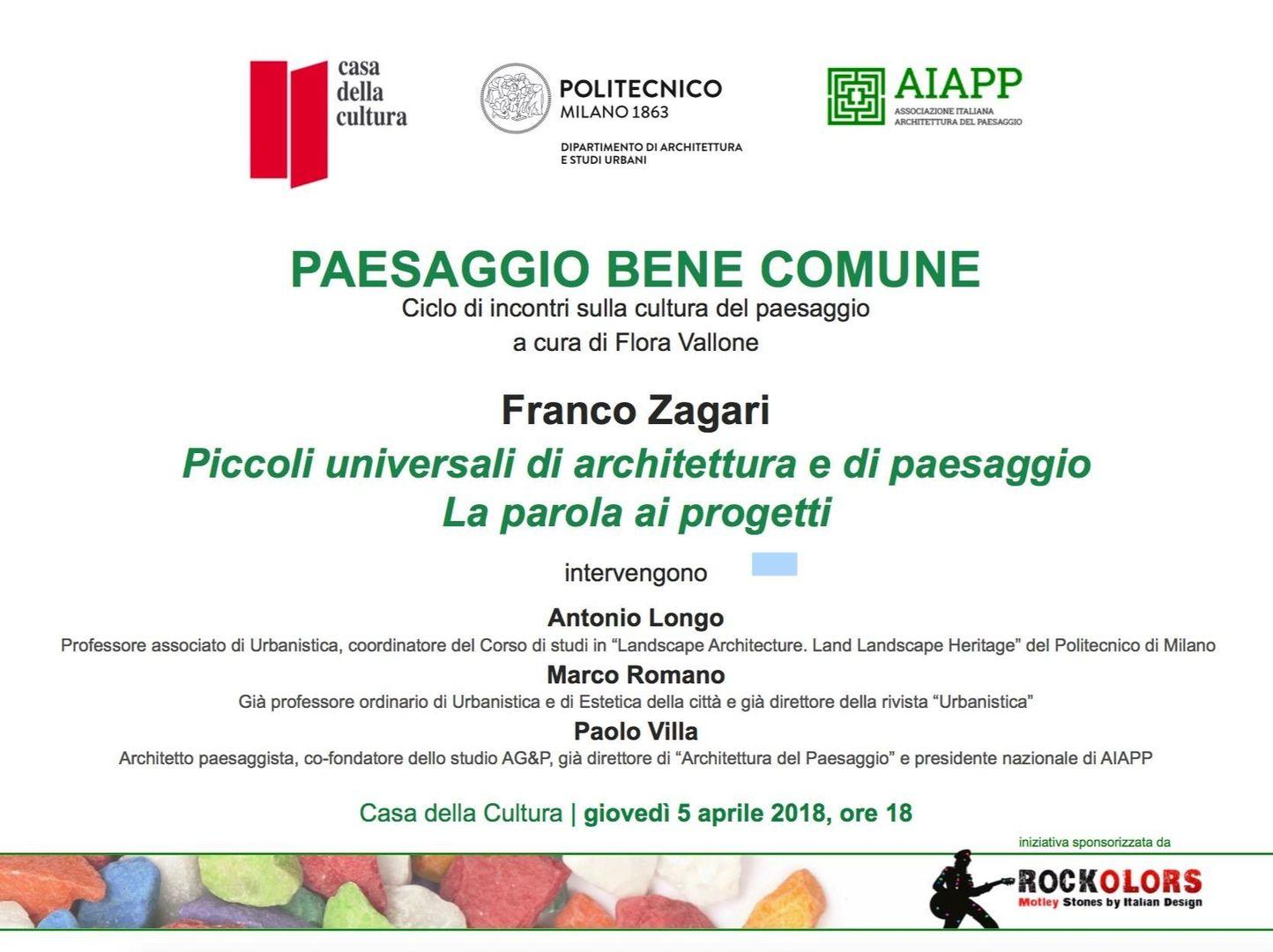 """Incontro """"Piccoli universali di architettura e di paesaggio"""" alla Casa della Cultura"""